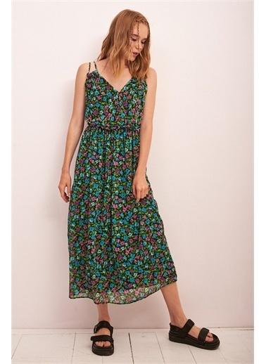 Never More Ayarlanabilir Askılı Çiçek Desen Elbise Renkli